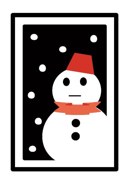 冬 赤い帽子の雪だるま