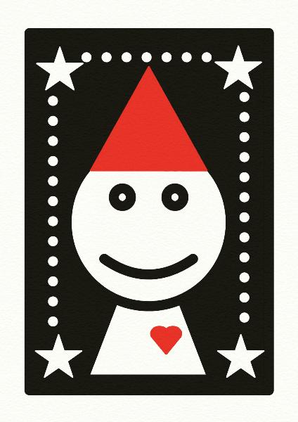 赤い帽子をかぶった人