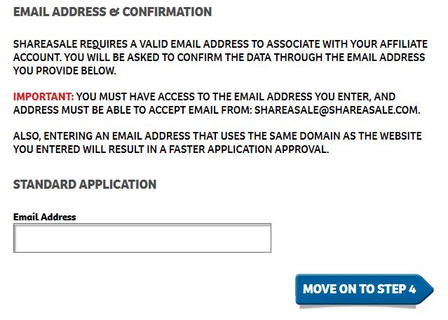ShareASale.com 123RFアフィリエイト登録画面 メールアドレス入力