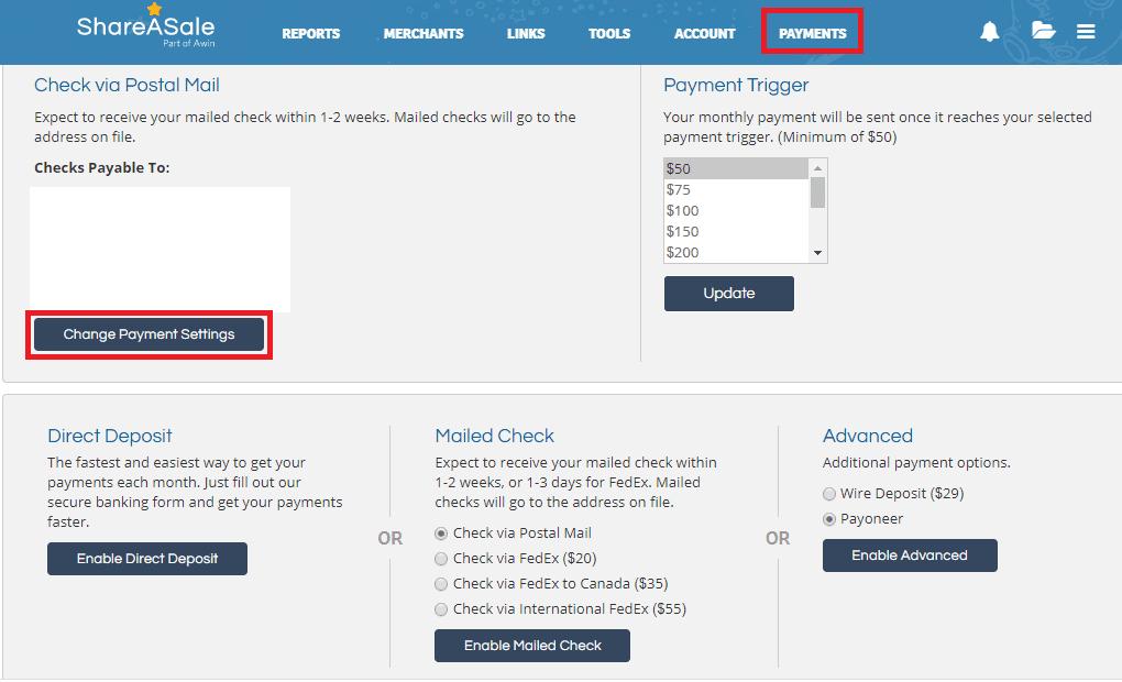 ShareASale支払い方法変更画面