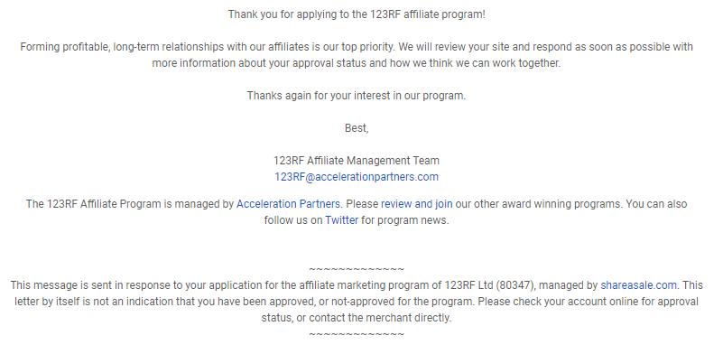 123RF提携申請受付メール