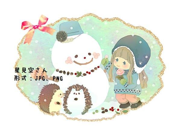 ハリネズミと雪だるまと女の子 イラストAC