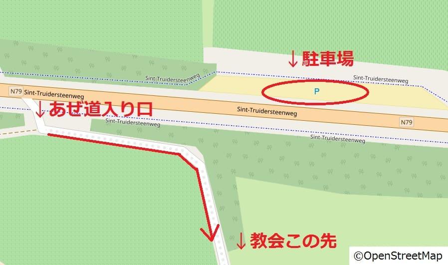 ボルフローン-透明な教会近隣駐車場地図