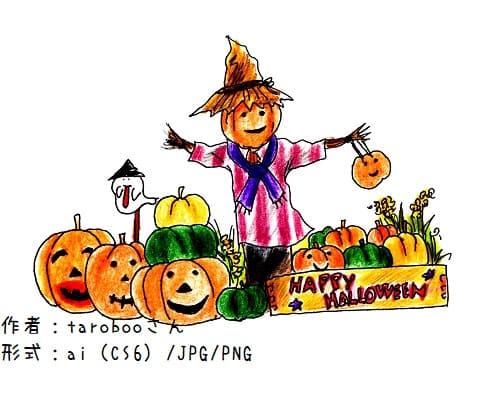 色鉛筆ハロウィン素材-かかしとジャックオーランタン-秋
