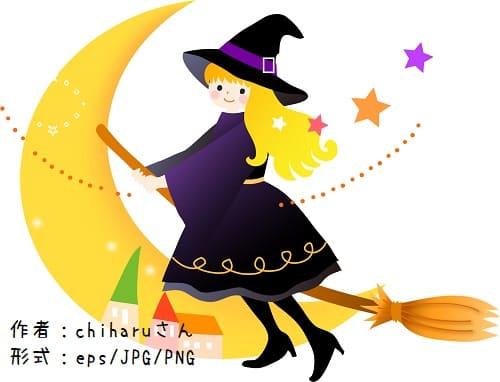 ハロウィンのベクター素材-魔女と三日月