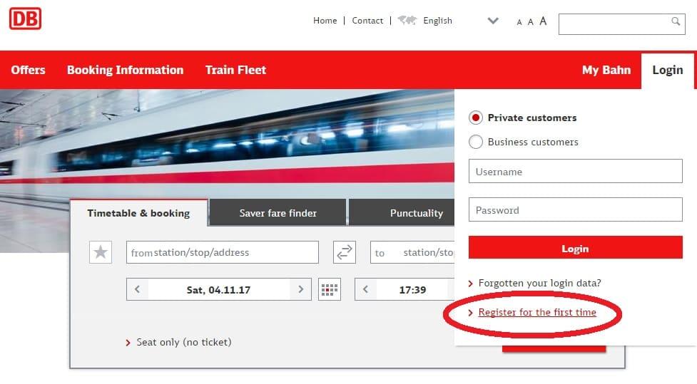ドイツ国鉄-新規ユーザー登録