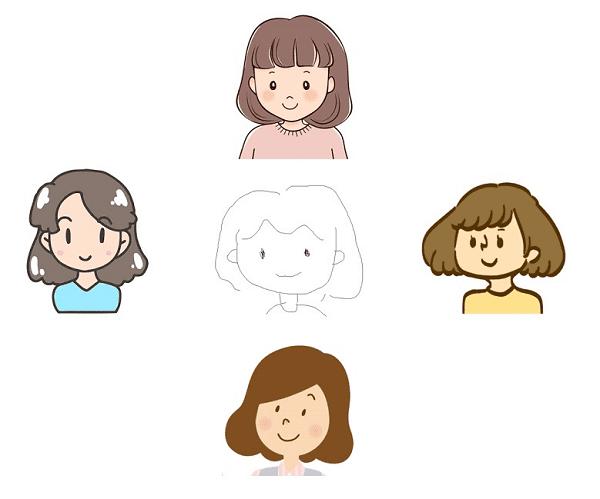 簡単な線画から自動描画・自動着色するイメージ図