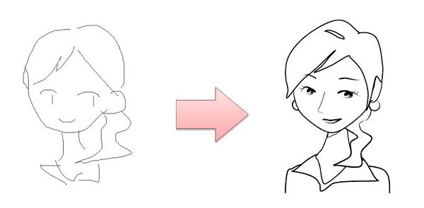 簡単な線画から自動描画するイメージ図