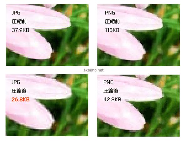 JPG/PNG/圧縮JPG/圧縮PNGデータサイズの比較-花の写真