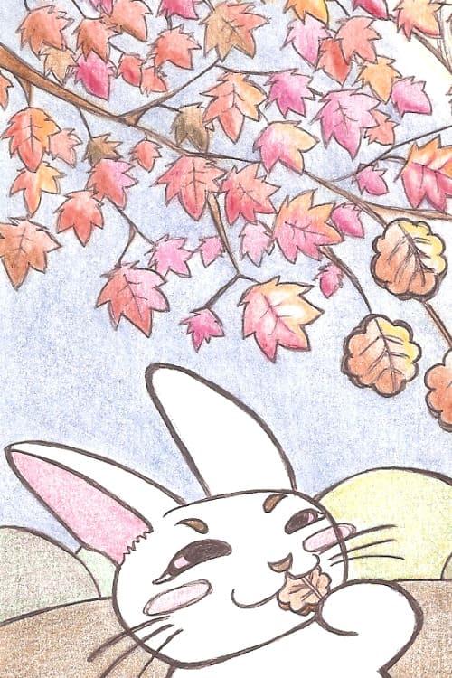 ボールペンと色鉛筆で描いたうさぎのイラスト