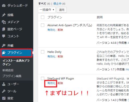 SiteGuard WP Plugin有効化