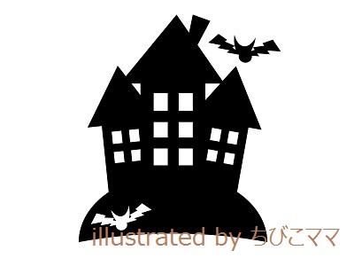 ハロウィン-お城と蝙蝠のシルエットイラスト