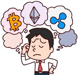 仮想通貨を考えるイラスト