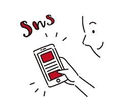 スマートフォンでSNSをするフリーイラスト